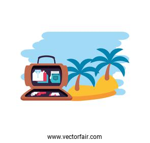 island beach with travel suitcase