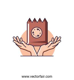hands with paper bag eco friendly