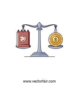 justice balance with bag paper and coin money