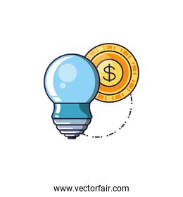 saving bulb electric with coin dollar