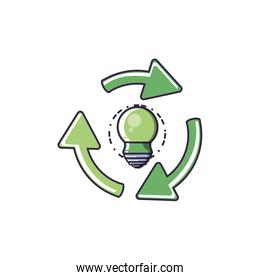 recycling arrows with saving bulb electric icon