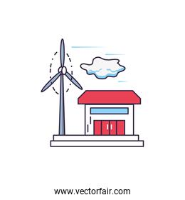 house facade building with windmill