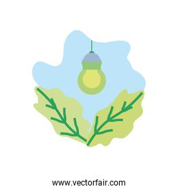 saving bulb electric hanging with leafs nature