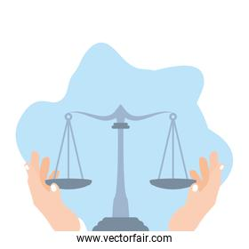 hands with justice balance symbol isolated icon