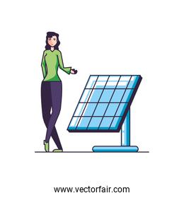 solar panel energy with young woman