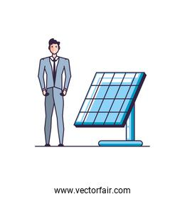 solar panel energy with businessman