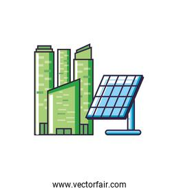 solar panel energy with buildings facade