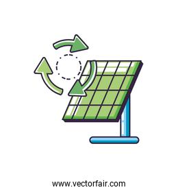 solar panel energy with recycling arrows