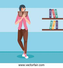 young woman reading book avatar character