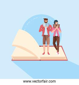 young couple reading in book avatar character