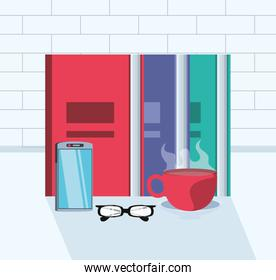 file books with eyeglasses and supplies in the workplace