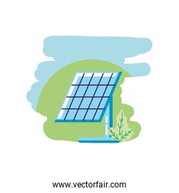 solar panel energy with leafs nature