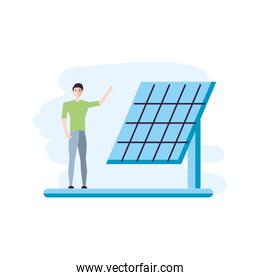 solar panel energy with young man