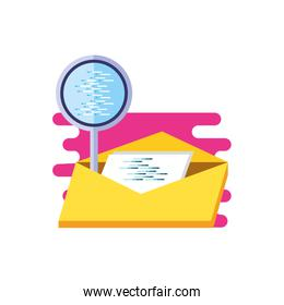 envelope mail with search magnifying glass