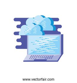 laptop computer with clouds computing