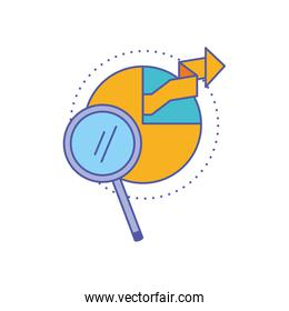 search magnifying glass with statistical graphics circular