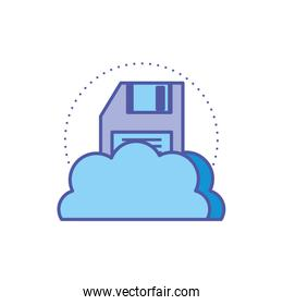 cloud computing technology with floppy disk