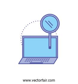 laptop computer device with search magnifying glass