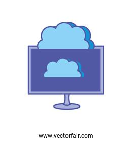 computer monitor with clouds computing