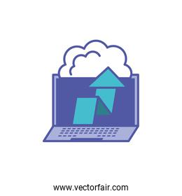 laptop computer with clouds computing and arrow up