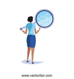 business woman with search magnifying glass