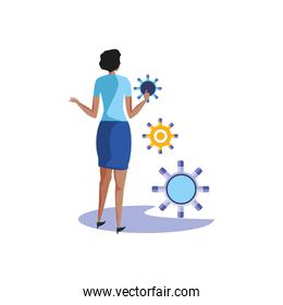 business woman elegant with gears pinions