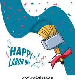 happy labor day label with paint brush and decoration