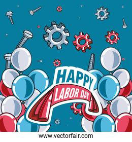 happy labor day label with gears and decoration
