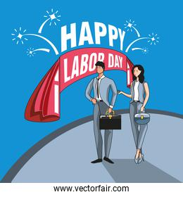 happy labor day label with business people and decoration