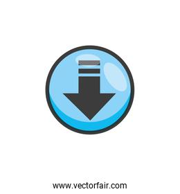 arrow download button isolated icon