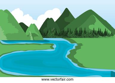 landscape with river nature icon