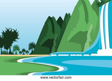 landscape mountain with waterfall scene nature