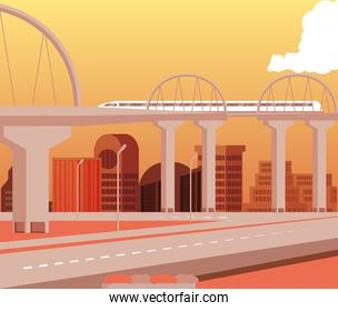 cityscape buildings day scene with bridge and roads