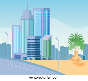 cityscape buildings scene with road and tropical palm