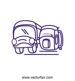 bus transportation with school bag isolated icon