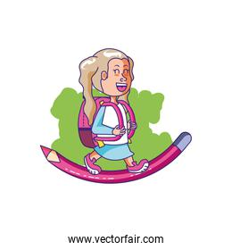 cute little student girl with school bag and pencil color pink