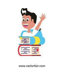 cute little student boy with bag school and stack books