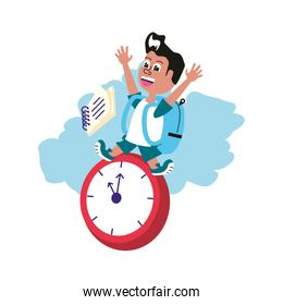 cute little student boy with bag school and clock