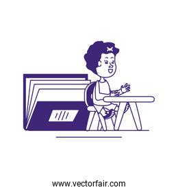 cute little student girl in desk with book
