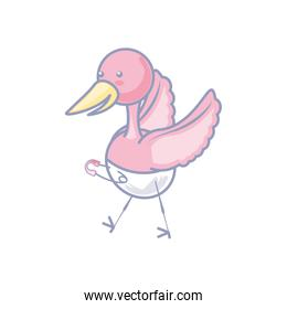 cute stork animal with diaper isolated icon