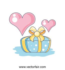 gift box present and hearts love