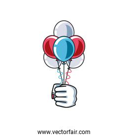 hand fist power female with balloons helium