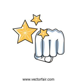 hand fist power with set of stars