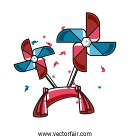 ribbon decoration with fans windmills toy
