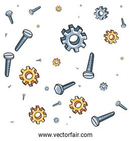 pattern of gears with screws