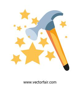 hammer tool with set stars isolated icon