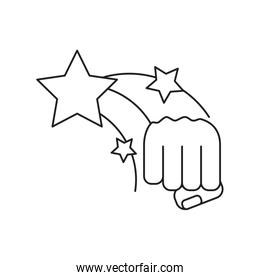 hand fist power with stars isolated icon