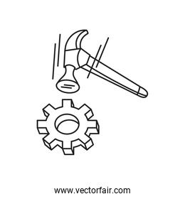 hammer tool handle with gear pinion