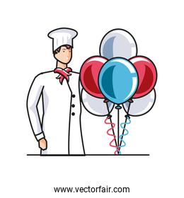 professional chef worker with balloons helium labor day celebration
