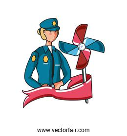 female police officer with wind toy labor day celebration